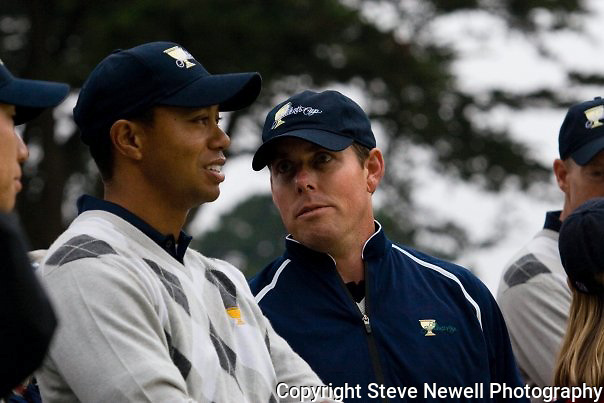 Tiger Woods and Justin Leonard at the 2009 President's Cup held Harding Park Golf Course in San Francisco, CA.  I was shooting for the San Francisco Examiner's website.