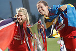 Olympique Lyonnais' Ada Hegerberg (l) and Lotta Schelin celebrate the victory in the UEFA Women's Champions League 2015/2016 Final match.May 26,2016. (ALTERPHOTOS/Acero)