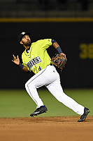 Shortstop Gio Alfonzo (6) of the Columbia Fireflies plays defense in a game against the Augusta GreenJackets on Friday, April 6, 2018, at Spirit Communications Park in Columbia, South Carolina. Columbia won, 7-2. (Tom Priddy/Four Seam Images)