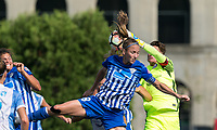 Boston, MA - Saturday August 19, 2017: Julie King, Ashlyn Harris during a regular season National Women's Soccer League (NWSL) match between the Boston Breakers (blue) and the Orlando Pride (white/light blue) at Jordan Field. Orlando Pride defeated Boston Breakers, 2-1.