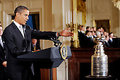 Washington, DC - September 10, 2009 -- United States President Barack Obama welcomes the Pittsburgh Penguins to honor them for their 2009 Stanley Cup championship victory,September 10, 2009 in Washington, DC..Credit: Olivier Douliery - Pool via CNP
