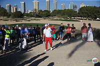 Andy Sullivan (ENG) in the sand left of the 17th green during the Final Round of the 2016 Omega Dubai Desert Classic, played on the Emirates Golf Club, Dubai, United Arab Emirates.  07/02/2016. Picture: Golffile | David Lloyd<br /> <br /> All photos usage must carry mandatory copyright credit (&copy; Golffile | David Lloyd)
