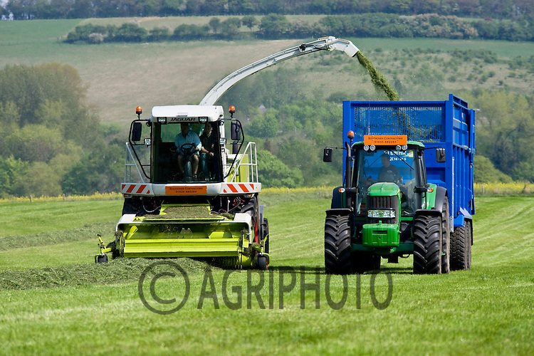 26.4.2011 Self propelled forager collecting grass for silage.©Tim Scrivener 07850 303986