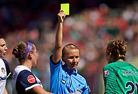 Portland, OR - Saturday September 02, 2017: DiDi Haracic receives a yellow card from Katja Koroleva during a regular season National Women's Soccer League (NWSL) match between the Portland Thorns FC and the Washington Spirit at Providence Park.
