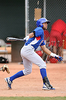Rubi Silva #27 of the Chicago Cubs plays in a minor league spring training game against the Los Angeles Angels at the Angels minor league complex on April 2, 2011  in Tempe, Arizona. .Photo by:  Bill Mitchell/Four Seam Images.