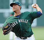 LHP Cesar Cabral (47) of the Greenville Drive, Class A affiliate of the Boston Red Sox, at a game against the West Virginia Power May 2, 2010, at Fluor Field at the West End in Greenville, S.C. Photo by: Tom Priddy/Four Seam Images