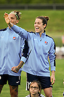 Piscataway, NJ, May 7, 2016.  Kelley O'Hara (19), Tasha Kai (32) of Sky Blue FC during player introductions prior to their game with the Western New York Flash.  The Western New York Flash defeated Sky Blue FC, 2-1, in a National Women's Soccer League (NWSL) match at Yurcak Field.