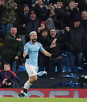 Manchester City's Sergio Aguero celebrates scoring his side's second goal<br /> <br /> Photographer Rich Linley/CameraSport<br /> <br /> UEFA Champions League Round of 16 Second Leg - Manchester City v FC Schalke 04 - Tuesday 12th March 2019 - The Etihad - Manchester<br />  <br /> World Copyright © 2018 CameraSport. All rights reserved. 43 Linden Ave. Countesthorpe. Leicester. England. LE8 5PG - Tel: +44 (0) 116 277 4147 - admin@camerasport.com - www.camerasport.com