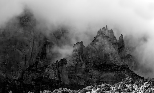 Fog moves into Zion Canyon at Zion National Park, Utah