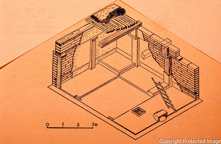 World Civilization:  Catal Huyuk--Typical main room showing timber framework, panelling, and platforms. Bench, hearth, oven and ladder.  James Mellaart, Archaeologist.