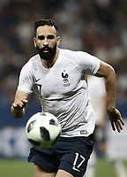 International friendly football match France vs Italy, Allianz Riviera, Nice, France, June 1, 2018. <br /> France's Adil Rami in action during the international friendly football match between France and Italy at the Allianz Riviera in Nice on June 1, 2018.<br /> UPDATE IMAGES PRESS/Isabella Bonotto