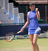June 14th 2017, Nottingham,  England; WTA Aegon Nottingham Open Tennis Tournament day 5;  Fistpump from Donna Vekic of Croatia as she takes the first set against Julia Boserup of USA