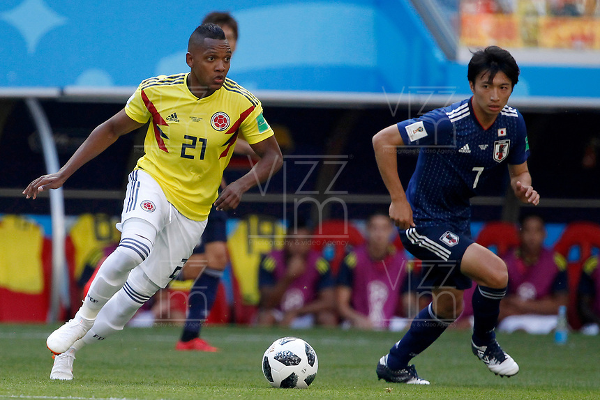 SARANSK - RUSIA, 19-06-2018: Jose IZQUIERDO (Izq) jugador de Colombia disputa el balón con Gaku SHIBASAKI (Der) jugador de Japón durante partido de la primera fase, Grupo H, por la Copa Mundial de la FIFA Rusia 2018 jugado en el estadio Mordovia Arena en Saransk, Rusia. /  Jose IZQUIERDO (L) player of Colombia fights the ball with Gaku SHIBASAKI (R) player of Japan during match of the first phase, Group H, for the FIFA World Cup Russia 2018 played at Mordovia Arena stadium in Saransk, Russia. Photo: VizzorImage / Julian Medina / Cont
