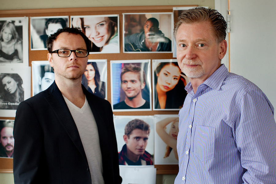 CREDIT: Daryl Peveto / LUCEO ..Los Angeles, California, September 28, 2010 - A portrait of ABC Television's mockumentary My Generation creator and Executive Producer, Noah Hawley, left, and Executive Producer, Warren Littlefield at the show's offices in the Clune Bldg. at Raleigh Studios in West Hollywood. The show follows a group of 9 friends 10 years after their graduation to see what they have done with their lives since graduating from fictional Greenbelt High School in Austin, Texas, where the show is also filmed. .