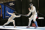 25 MAR 2016:  Ohio State's Alanna Goldie battles with Columbia's Jackie Dubrovich in a women's foil semi final match at the Division I Women's Fencing Championship held at the Gosman Sports and Convention Center in Waltham, MA.   Damian Strohmeyer/NCAA Photos