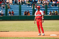 15 February 2009: Second base Hector Olivera of the Orientales is seen during a training game of Cuba Baseball Team for the World Baseball Classic 2009. The national team is pitted against itself, divided in two teams called the Occidentales and the Orientales. The Orientales win 12-8, at the Latinoamericano stadium, in la Habana, Cuba.