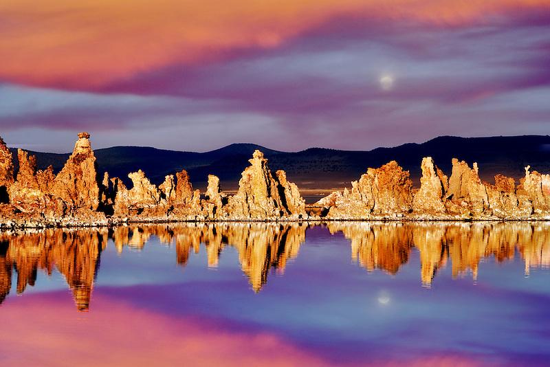Tufa and reflections in Mono Lake, California