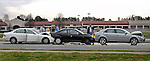 Chain reaction.  Scene of a multi-car chain reaction accident during rush hour on University Dr. (Hwy 72) near Perimeter Parkway.  Bob Gathany photo.