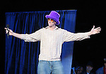 """13 October 2006: UNC's Tyler Hansbrough during a dating skit. The University of North Carolina at Chapel Hill Tarheels held their first Men's and Women's basketball practices of the season as part of """"Late Night with Roy Williams"""" at the Dean E. Smith Center in Chapel Hill, North Carolina."""