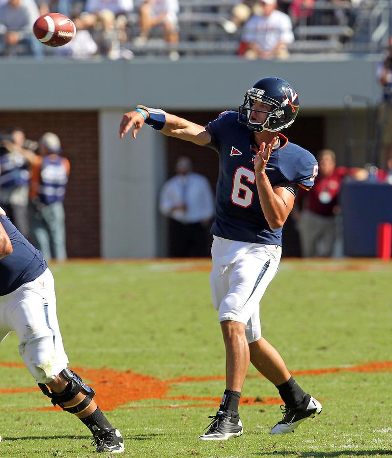 Oct 2, 2010; Charlottesville, VA, USA; Virginia Cavaliers quarterback Marc Verica (6) throws the ball during the game against the Florida State Seminoles at Scott Stadium. Florida State won 34-14.  Mandatory Credit: Andrew Shurtleff-