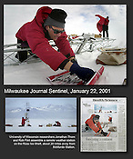 University of Wisconsin researchers Jonathan Thom and Rob Flint assemble a remote weather station on the Ross Ice Shelf, about 20 miles outside of McMurdo Station, Antarctica. Ernie Mastroianni story and photos.