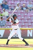 Johneshwy Fargas #1 of the Salem-Keizer Volcanoes bats against the Spokane Indians at Volcanoes Stadium on July 26, 2014 in Keizer, Oregon. Spokane defeated Salem Keizer, 4-1. (Larry Goren/Four Seam Images)