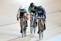 Michaeal Drummond (L) of West Coast North Island, Lauren Ellis of Mid South Canterbury and Alysha Keith of Otago competes in the Elite Women Omnium 2, Tempo Race 7.5km,  at the Age Group Track National Championships, Avantidrome, Home of Cycling, Cambridge, New Zealand, Sunday, March 19, 2017. Mandatory Credit: © Dianne Manson/CyclingNZ  **NO ARCHIVING**