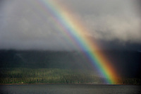Rainbow over ocean, Inside Passage, Alaska, Pacific Ocean