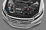 High angle engine detail of a 2012 Honda Crosstour EXL .