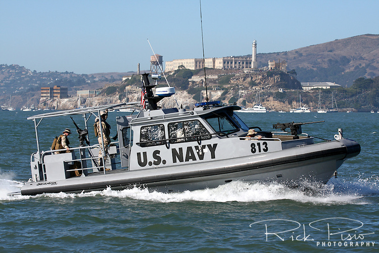 U.S. Navy Security forces patrol the San Francisco waterfront in the 34 foot Sea Ark Navy security boat.
