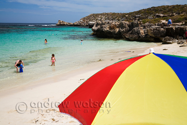 Beach umbrella at Little Salmon Bay on Rottnest Island, Western Australia, AUSTRALIA.
