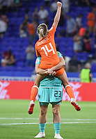 20190703 - LYON , FRANCE : Dutch Jackie Groenen pictured celebrating after winning the female soccer game between Netherlands – Oranje Leeuwinnen - and Sweden  , a knock out game in the semi finals of the FIFA Women's  World Championship in France 2019, Wednesday 3 th July 2019 at the Stade de Lyon  Stadium in Lyon  , France .  PHOTO SPORTPIX.BE | DAVID CATRY
