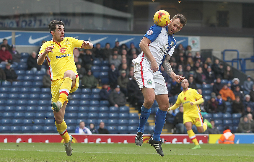 Blackburn Rovers Chris Brown gets aheader past Milton Keynes Dons Joe Walsh<br /> <br /> Photographer Mick Walker/CameraSport<br /> <br /> Football - The Football League Sky Bet Championship - Blackburn Rovers v Milton Keynes Dons - Saturday 27th February 2016 - Ewood Park - Blackburn<br /> <br /> &copy; CameraSport - 43 Linden Ave. Countesthorpe. Leicester. England. LE8 5PG - Tel: +44 (0) 116 277 4147 - admin@camerasport.com - www.camerasport.com