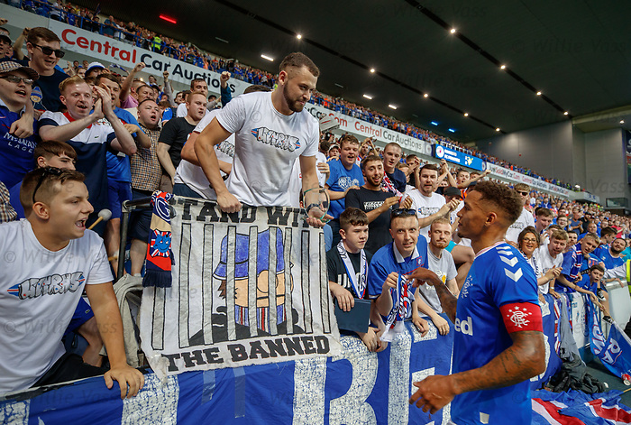 25.07.2019 Rangers v Progres Niederkorn: James Tavernier gets an award from the Union Bears after the match