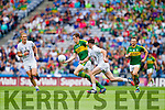 David Moran, Kerry in action against Eoin Doyle, Kildare in the All Ireland Quarter Final at Croke Park on Sunday.