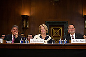 United States Senator Joe Manchin III (Democrat of West Virginia), United States Senator Shelley Moore Capito (Republican of West Virginia), and United States Senator Gary Peters (Democrat of Michigan) speak at the confirmation hearing of Daniel Bress to become a U.S. circuit judge for the ninth circuit, as well as the nomination of several district judges on Capitol Hill in Washington D.C., U.S. on May 22, 2019.<br /> <br /> Credit: Stefani Reynolds / CNP