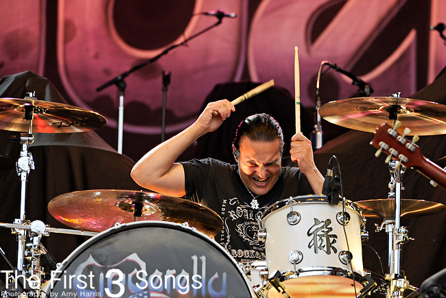 Fred Coury of Cinderella performs during day one of the 2011 Rock Fest on July 14, 2011 in Cadott, Wisconsin.