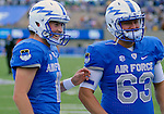 October 1, 2016 - Colorado Springs, Colorado, U.S. -  Air Force kicker, Luke Strebel #11 and Justin Greene #63, prior to the NCAA Football game between the Naval Academy Midshipmen and the Air Force Academy Falcons, Falcon Stadium, U.S. Air Force Academy, Colorado Springs, Colorado.  Air Force defeats Navy 28-14 to remain undefeated.