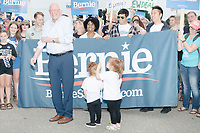Democratic presidential candidate and Vermont senator Bernie Sanders greets supporters before marching in the Labor Day Parade in Milford, New Hampshire, on Mon., September 2, 2019. Candidates Bernie Sanders and Vermin Supreme were the only candidates who marched in the parade this year.