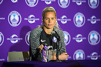 Orlando, Florida - Sunday, May 8, 2016: Orlando Pride goalkeeper Ashlyn Harris (1) speaks to the media following a National Women's Soccer League match between Orlando Pride and Seattle Reign FC at Camping World Stadium. Orlando won 2-0.