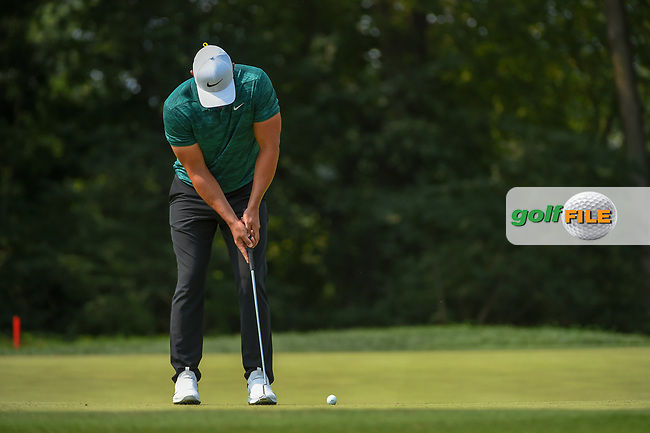 Brooks Koepka (USA) watches his putt on 9 during 4th round of the 100th PGA Championship at Bellerive Country Club, St. Louis, Missouri. 8/12/2018.<br /> Picture: Golffile | Ken Murray<br /> <br /> All photo usage must carry mandatory copyright credit (© Golffile | Ken Murray)