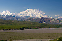 View of Mount McKinley (20,320 ft) on a clear day from Eielson Visitor Center, Denali National Park and Preserve, Alaska, United States.
