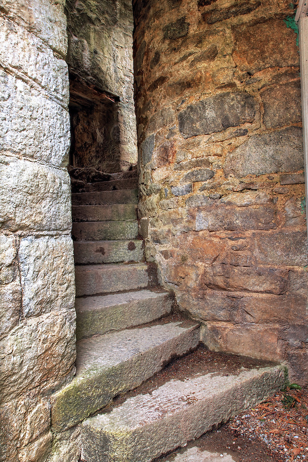 Spiraling stone stair case, Glenveagh Castle, Glenveagh National Park, County Donegal, Republic of Ireland