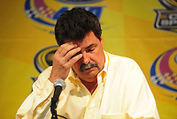 Nov. 14, 2008; Homestead, FL, USA; NASCAR Sprint Cup Series president Mike Helton reacts during a press conference to announce the elimination of testing for 2009 following practice for the Ford 400 at Homestead Miami Speedway. Mandatory Credit: Mark J. Rebilas-