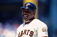 SAN FRANCISCO, CA - Barry Bonds of the San Francisco Giants smiles during a game at AT&T Park in San Francisco, California in 2000. Photo by Brad Mangin