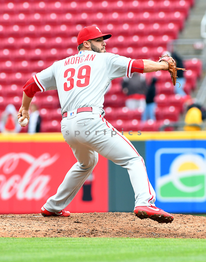 Philadelphia Phillies Adam Morgan (39) during a game against the Cincinnati Reds on April 6, 2017 at Great American Ballpark in Cincinnati, OH. The Reds beat the Phillies 4-7.
