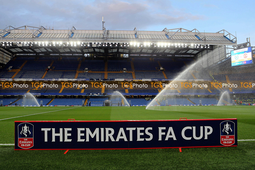 Sprinklers on at Chelsea FC prior to kick-off during Chelsea vs Manchester United, Emirates FA Cup Football at Stamford Bridge on 13th March 2017