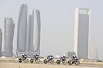 AG2R La Mondiale motor along during Stage 1 of the 2019 UAE Tour, a team time trial running 16km around Al Hudayriat Island, Abu Dhabi, United Arab Emirates. 24th February 2019.<br /> Picture: LaPresse/Fabio Ferrari | Cyclefile<br /> <br /> <br /> All photos usage must carry mandatory copyright credit (© Cyclefile | LaPresse/Fabio Ferrari)