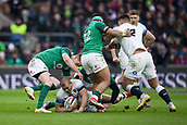 17th March 2018, Twickenham, London, England; NatWest Six Nations rugby, England versus Ireland; Jonathan Joseph of England is tackled by Jonathan Sexton of Ireland