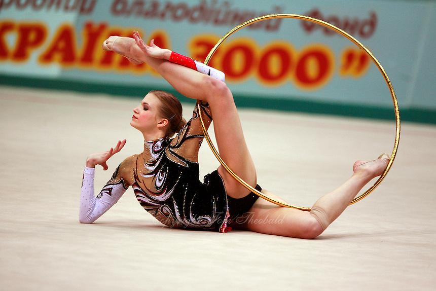 """Olga Kapranova of Russia begins routine with hoop at 2008 World Cup Kiev, """"Deriugina Cup"""" in Kiev, Ukraine on March 23, 2008."""